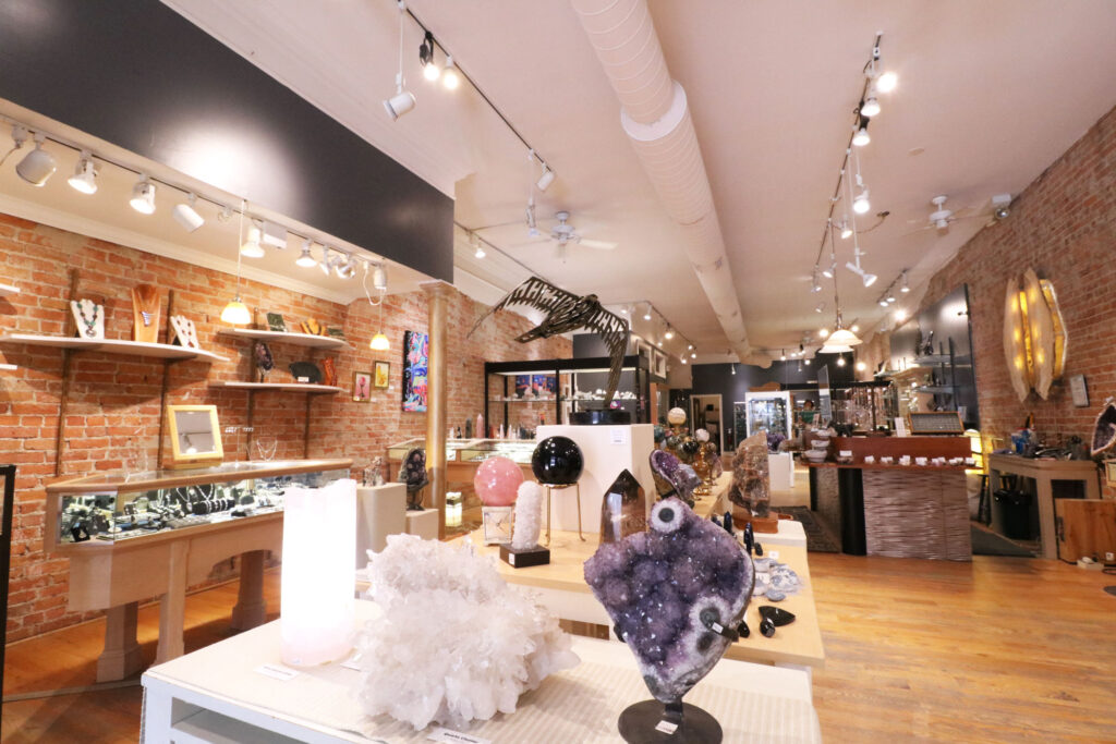 Interior view of Four Directions from the entrance of the shop.